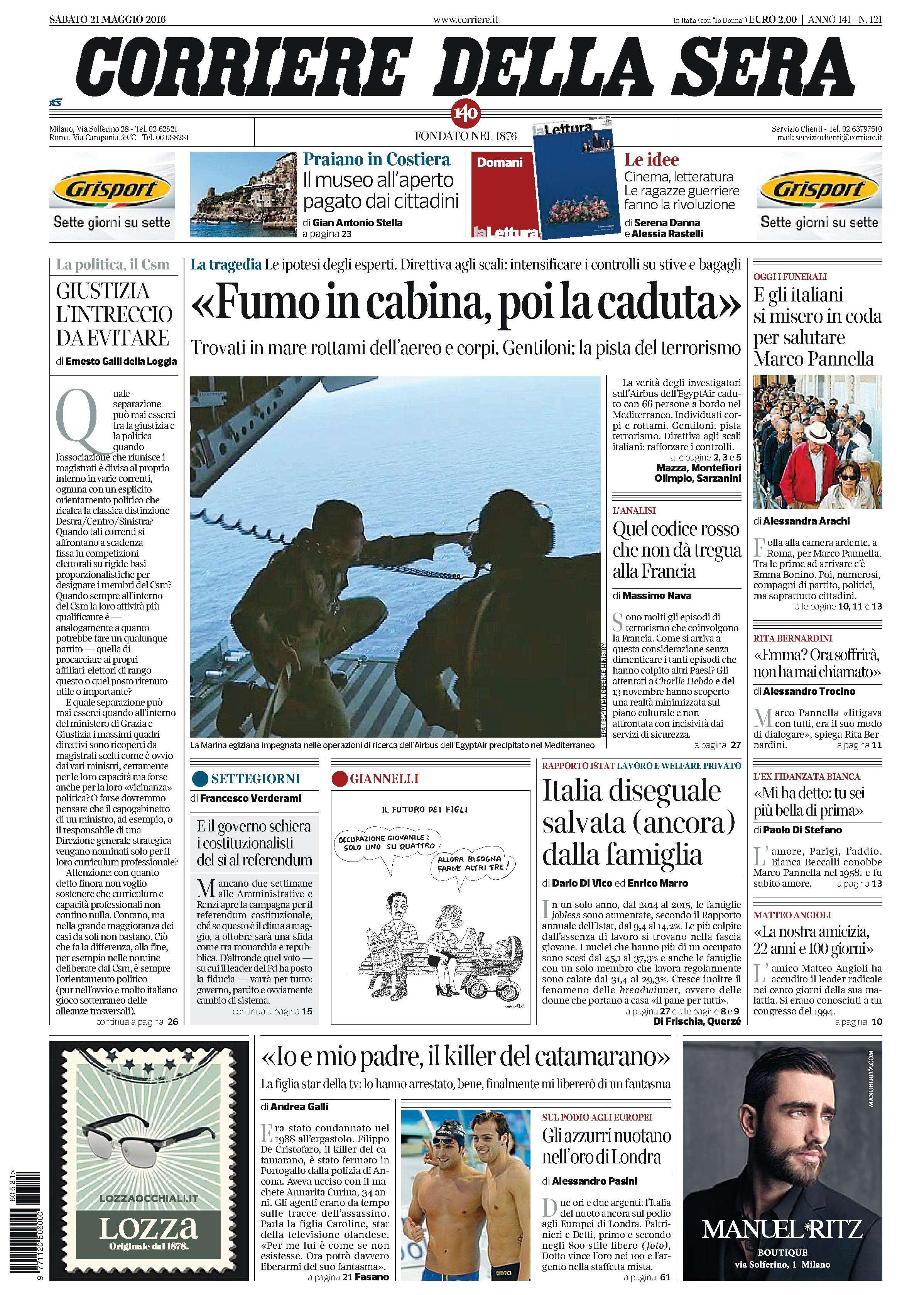 Corriere della sera italy may 21 2016 carmina campus for Corriere della sera arredamento